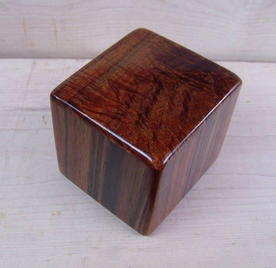 "Curly Hawaiian Koa  Pet or Infant Small Cremation Urn  4 3/4"" x 4 1/4"" x 4""  Custom Handmade Urns Ashes Memorial Keepsake Urn SM071217C"