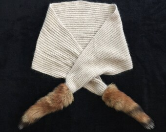 Vintage Ribbed Knit Angora Scarf with Raccoon Tails