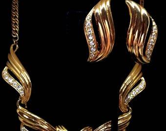 Avon Undeniable Choker Necklace & Earrings Set, Demi Parure Rhinestone Costume Jewelry