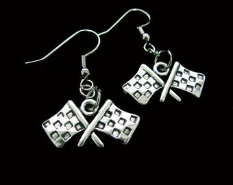 CHECKERED FLAG Auto Racing Earrings - Perfect Gift Idea For Anyone Who Loves Racing! - Christmas Gift Idea, Stocking Stuffer - Motorcycle