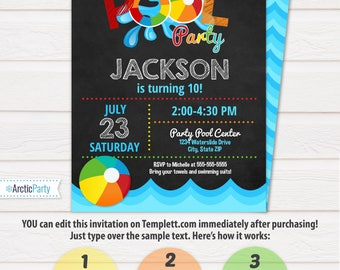 Pool Party Invitation - Swimming Pool Birthday Party - Pool Party - Swimming Birthday - Swimming Party - INSTANT DOWNLOAD - Edit NOW!