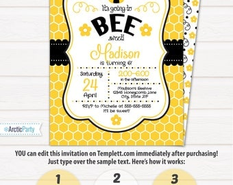 Bumble Bee Birthday Invitations - Bumble Bee Party Supplies - Bee Party - Bee Themed Party - INSTANT ACCESS - Edit with Templett.com