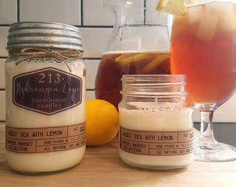 sweet tea with lemon scented farmhouse candle *farmers market collection* mason jar candle. iced tea candle. 8oz. 16oz. soy. iced tea twist.