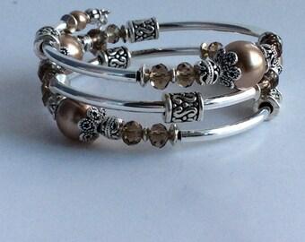 MEMORY WIRE BRACELET, Swarovski Pearl and Crystal, Memory Wire, Wrap Bracelet, Coil Bracelet, Spacer Beads.