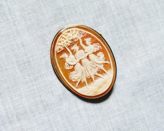 Vintage 14K Yellow Gold Cameo Brooch/Pin Pendant Necklace