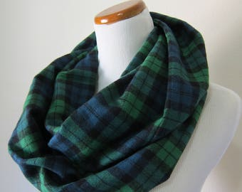 Plaid infinity scarf - flannel scarf - blue and green plaid scarf - fashion accessories for women - gift for her - winter circle scarves