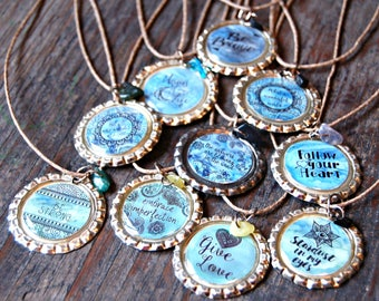 Bottle Cap Jewelry, Bottle Cap Necklaces, Eco-friendly Jewelry, Inspirational Necklaces, Birthday Gift for Her, Graduation Gift for Her