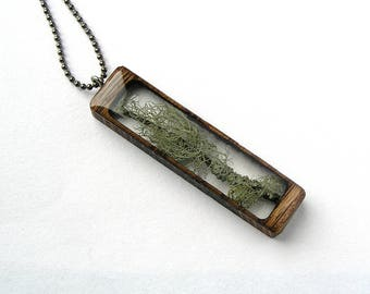 Lichen Covered Branch Resin and Wood Necklace Pendant: Nature Jewelry with Real Plants