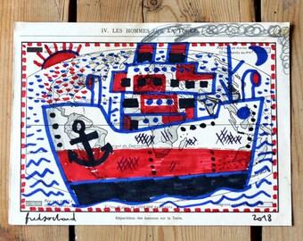 Cargo ship at sunset / original drawing on map
