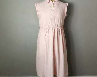 Pink Gingham cotton dress / soft pink and white checked vintage dress / 50s style gingham dress / roll sleeves shirt dress / 50s