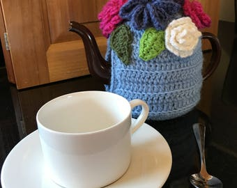 Floral wool tea cosy crochet flowers 4 cup blue