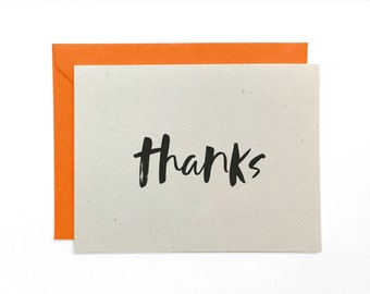 NEW | Hand Lettered Thanks Card, Recycled Bright Thank You Card, Thanks Card, Thank You Card