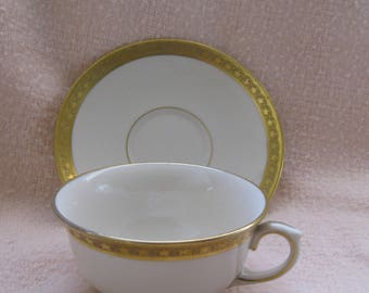50% Off Lamberton Sterling Ivory China Cup and Saucer Gold Star Trim