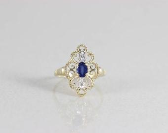 14k Yellow Gold Natural Blue Sapphire and Diamond Ring Size 8 1/4 Filigree Setting