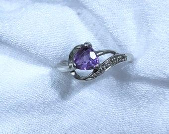 Sterling Silver Amethyst Trillion Ring 7 Vintage