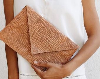 Brown Embossed Envelope Clutch