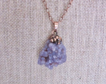 Grape Agate Pendant with Copper Chain