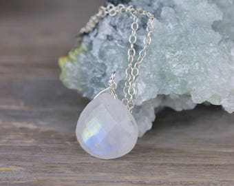 Moonstone Pendant Necklace in Sterling Silver or Yellow Gold Filled Chain, Blue Flash Moonstone Jewelry, Faceted Moonstone Crystal Necklace