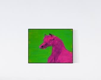 Pink horse: Geschenk für Pferdefans - Pop Art Illustration  - Zeichnung - Porträt nach Foto - Pferdeporträt
