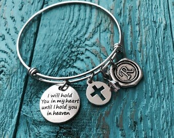 SALE, Silver Bracelet, Charm Bracelet, I will hold you in my, heart until i hold, you in heaven, Bereavement, Loss of Child, Bangle Bracelet