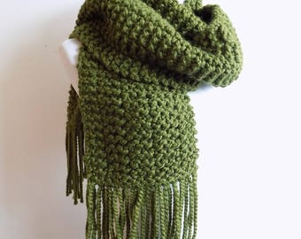 Hand Knit Cilantro Green Scarf with Fringe - Knitted Long Scarf - Chunky Dark Olive Fringed Scarf ~ Hand Knit Warm Winter Wool Blend Scarf