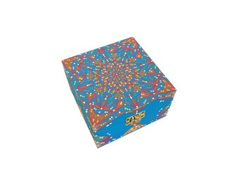 Ready to Ship-Hand painted Wood Box-Mandala Design-One of a Kind
