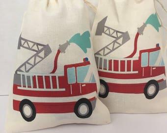 Favor Muslin bag :Fire trucks .  6.75x5
