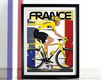 Tour De France Bicycle Grand Tour Race, bikes, bicycles, cycling, Poster Wall Art Print Home Décor