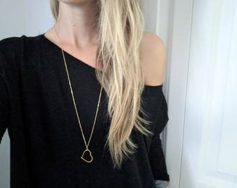 Gold Heart Necklace | Heart Shape Necklace Long Pendant Necklace I Love You Necklace Long Pendant necklace Gold Necklace Long Layer Necklace