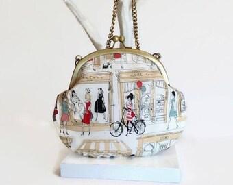 Paris Print Cross Body Bag with Matching Coin Purse, Metal Frame Purse, Paris Girls Bag