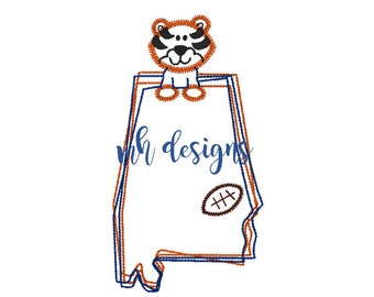 State of Alabama with Tiger and Football 5x7 & 6x10 embroidery design, Vintage stitch tiger, Auburn embroidery file, Bean stitch tiger