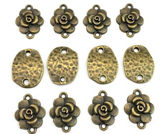 12 connectors bronze tone, 20mm  #CON 329