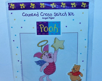 Winnie The Pooh Counted cross stitch kit Angel Piglet Kit 34018 by Symbol of Excellence Publishers sealed