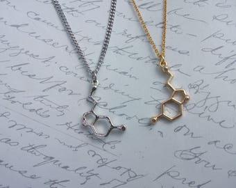 Serotonine molecule necklace in gold or silver