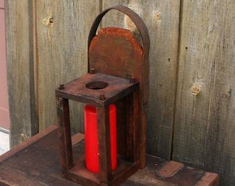 Vintage Wood Pillar Candle Holder, Primitive Hanging Candle Holder