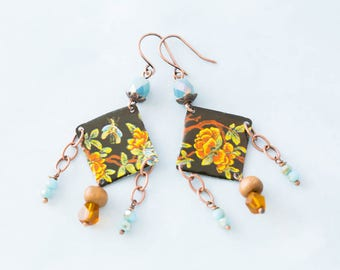 Bohemian Flower Tin Earrings with Blue and Orange Faceted Beads and Antique Copper, Diamond Shaped Earrings, Boho Chic Jewelry