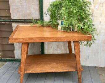 Midcentury End Table, Solid Wood Two tier End Table, Midcentury Modern, Mersman #7402