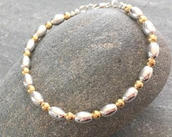 Gold Bead Ball Bracelet, Sterling Silver Gold Bracelet, Yellow Gold Jewelry, Beaded Silver Bracelet, Gold Bracelet, Gold & Silver Jewellery