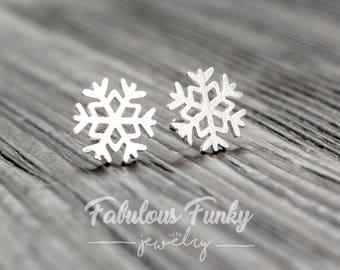 Snowflake Stud Earrings-925 Sterling Silver Edition