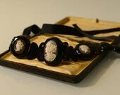 Antique choker necklace, Victorian, c.1870, whitby jet, bog oak, 3 shell cameos, silk ribbon ties, museum quality, England