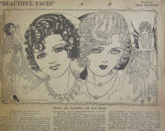 Original 1928 Newspaper Clipping - Beautiful Faces By Nell Brinkley