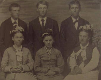 The Brady Bunch - Original 1890's Victorian Era Family Tintype Photograph - Free Shipping