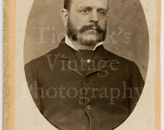 CDV Carte de Visite Photo Victorian Mustached Man with Mutton Chops Oval Framed Portrait - The Pelham Photographic Company Fulham Road