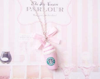 necklace strawberry starbuck polymer clay