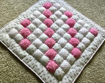 Bubble Quilt, Bubble Blanket, Puff Quilt, Baby Quilt, Quilt, Crib Quilt, Baby  Blanket, Baby Floor Mat, Tummy Time, Gray,Pink, White