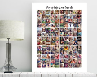 Instagram Collage, Instagram photo collage, instagram pictures collage, Housewarming Gift, family gift, gifts for him, Hi res JPEG Printable