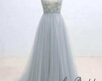 Ivory Lace Wedding Dress with Silver Thread Binding Dusty Blue Airy Tulle Wedding Dress with Deep V Neckline