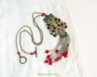 Fringe macrame necklace, micro-macrame jewelry, beaded, bohemian, boho chic, free spirit, beadwork, long, tassel, red green, summer fashion
