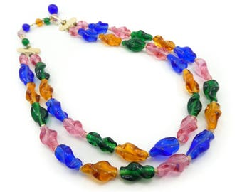 Vintage Japan Glass Necklace, Molded Beads, Hand Knotted, Multi Color