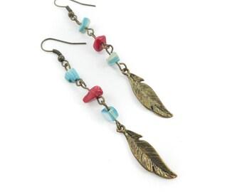 Vintage Feather Dangle Earrings, Shell, Hooks, N37